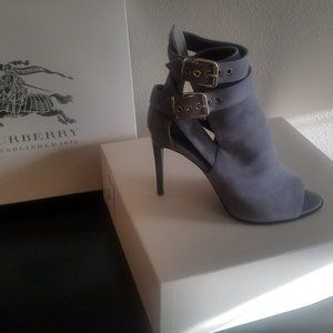 Burberry Peep Toe Grey Suede Ankle Bootie